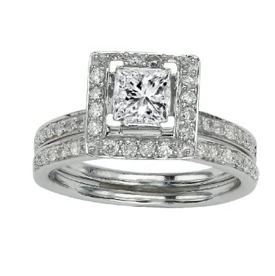 1.21 Carat Beautiful Halo Style Princess Cut Diamond Engagement
